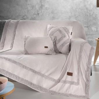 Ριχτάρι τριθέσιου καναπέ βαμβακερό   Hidi Pudra   180x300