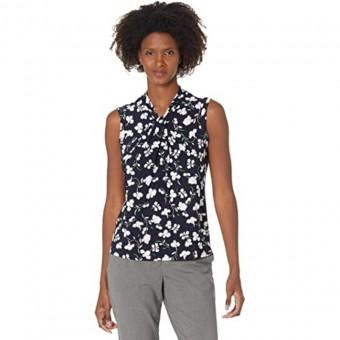 Μπλούζα Γυναικεία | Αμάνικη | Floral Knot Neck Knit | Ασπρόμαυρη | H11TM45G-m2m