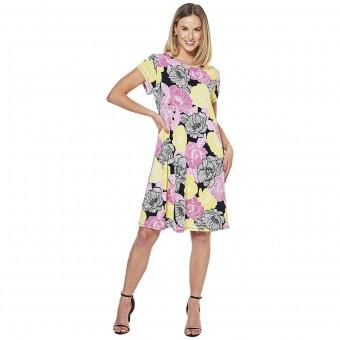 Φόρεμα κοντομάνικο Ruby Rd. | Must Haves Print Scoop Neck Floral | Black Multi