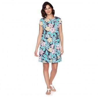 Φόρεμα κοντομάνικο Ruby Rd. | Puff Print Floral Shift | Navy Multi
