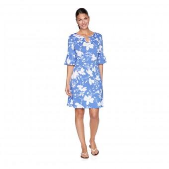 Φόρεμα κοντομάνικο Ruby Rd. | Must Haves Flounce Sleeve A-Line | Periwinkle Multi