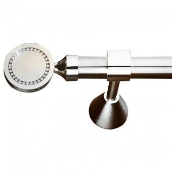 Κουρτινόξυλο μεταλλικό   nikel ματ Φ20   Swarovski